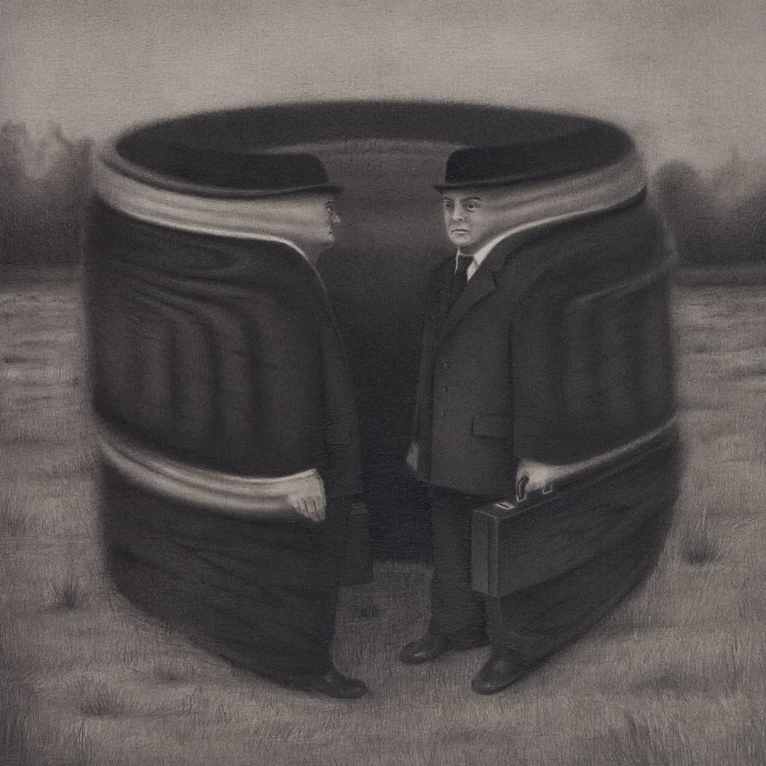 Graphite drawing of a surreal business man by Carlos Fernández the Penrider