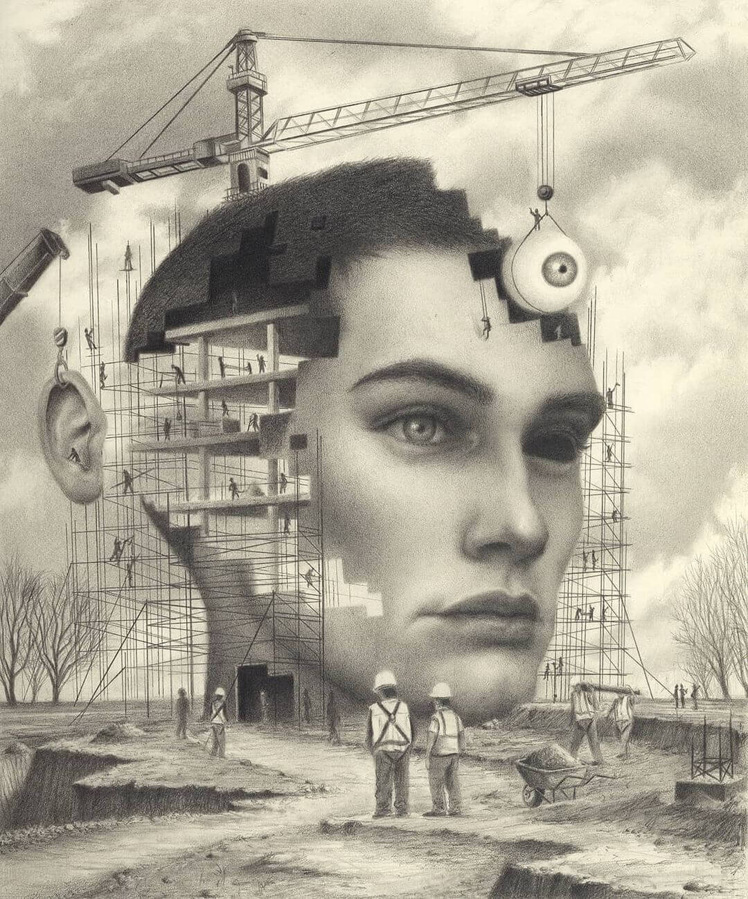Graphite drawing of a woman being built by Carlos Fernández the Penrider